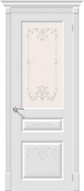 Дверь межкомнатная крашенная «Скинни-15.1 Аrt» Whitey (Эмаль) остекление художественное